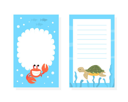 Notebook, Diary, Stationery Organizer, Stickers Set with Funny Marine Creature Characters Cartoon Vector Illustration