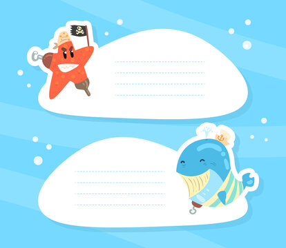 Funny Marine Creature Characters with Blank Signboards Set Cartoon Vector Illustration