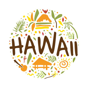 Hawaii Banner Template, Summer Paradise, Tropical Vacation, Surfing Poster, Card, Background Vector Illustration