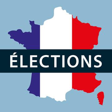 France élections. Carte de france avec bandeau et aux couleurs du drapeau français. Illustration vectorielle.