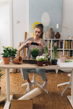 woman planting houseplants in her room. she takes the picture with her mobile phone