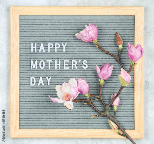 letterboard with white plastic letters with quote Happy Mother's Day, and magnolia flowers on light background