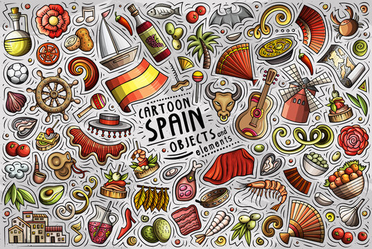 Doodle cartoon set of Spain objects and symbols