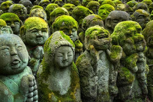 Buddhist stone statues at the Otagi Nenbutsu ji temple in Kyoto, Japan
