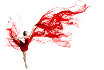 Ballerina Dance. Woman dancing Red Fabric. Graceful Ballet Dancer jumping in Air. Red Cloth flying...