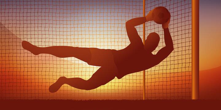 Concept du penalty et de l'arrêt d'un gardien de but qui permet à son équipe de remporter une victoire sur l'équipe adverse lors d'un match de championnat.