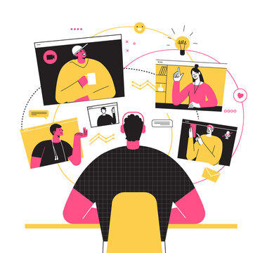 Vector illustration, work from home online, remote work, self-isolation. Freelancer work and holding a video conference with collegges from home. Internet connection. Friends video meeting