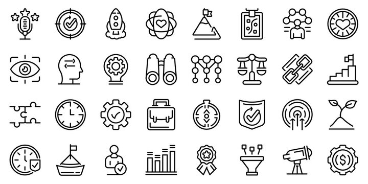 Core values icons set. Outline set of core values vector icons for web design isolated on white background