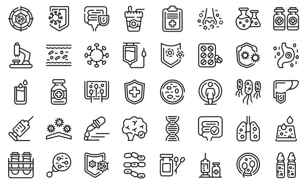 Immune system icons set. Outline set of immune system vector icons for web design isolated on white background