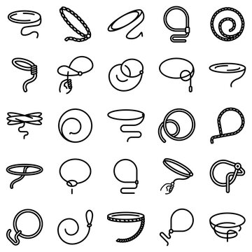 Lasso icons set. Outline set of lasso vector icons for web design isolated on white background