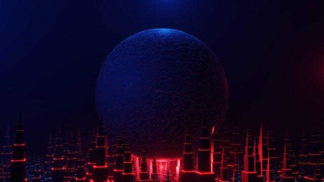Cyberpunk City Retro Future Blue Energy Mercury Skyscrapers Abstract