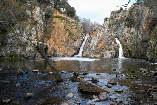 The Hervidero´s Waterfalls. A beautiful hiking route through the Hervidero waterfalls, in San Agustin de Guadalix, Community of Madrid, Spain