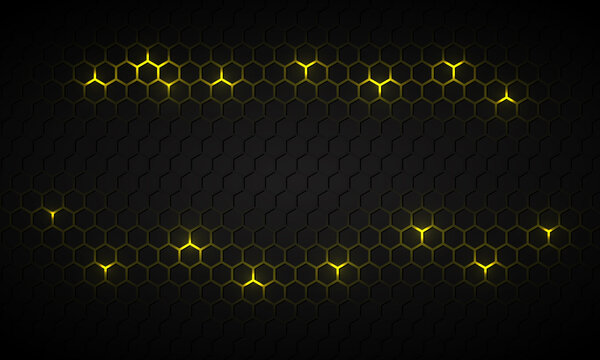 Black hexagonal technology abstract vector background with yellow bright energy flashes under hexagon. Dark honeycomb texture grid in tech futuristic background.