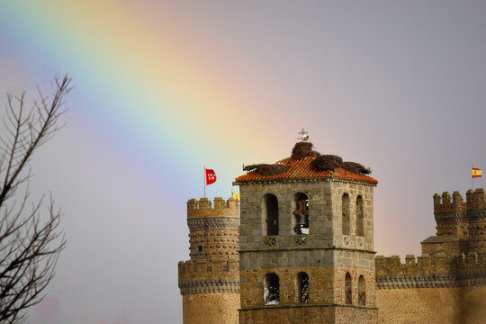 Rainbow in Manzanares el Real. The rainbow is located on the tower of the castle of Manzanares El Real, in the Community of Madrid, Spain