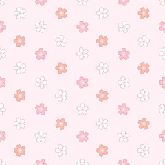 Wall Mural - Sakura flower seamless pattern vector illustration. Repeat of cherry blossom flowers