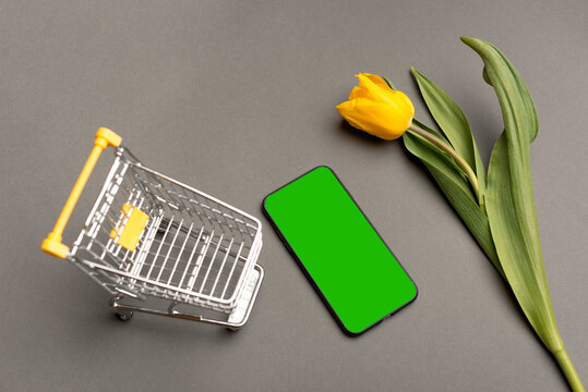 Photo of smartphone with green screen shopping trolley and yellow tulip