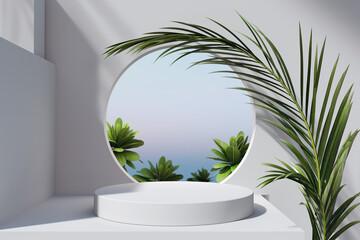 Fototapeta Geometric minimal scene, design for cosmetic or product display podium obraz