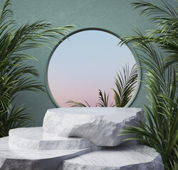 Fototapeta abstract geometric shape pastel color scene minimal, design for cosmetic or product display podium obraz