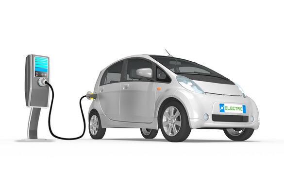 3d Elektro Auto grau an der Ladestation, isoliert