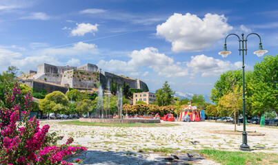 Wall Mural - Landscape with old fortress of Kerkyra, capital of  Corfu island, Greece