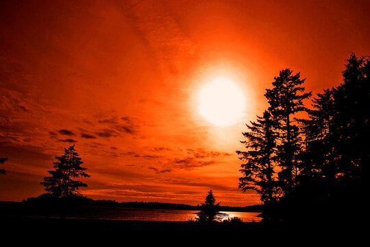 Sunset Long Beach Tofino Vancouver Island Canada
