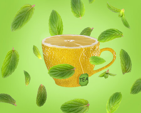 cup with lemon and mint texture on a bright background