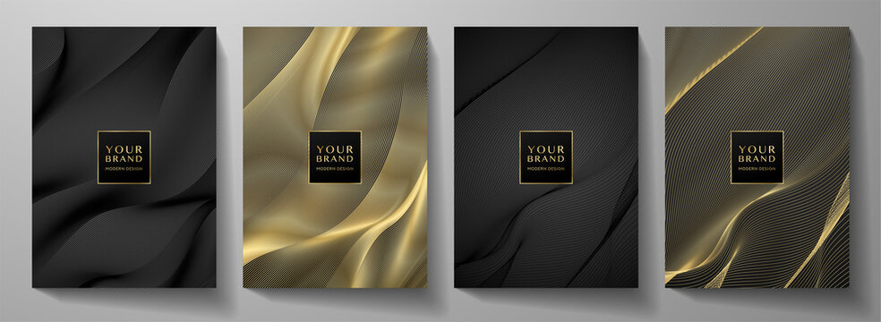 Modern cover design set. Gold abstract line pattern (guilloche curves) in premium colors: black and gold . Luxury wavy stripe vector layout for business background, certificate, brochure template