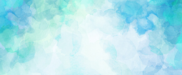 Fototapeta Blue green watercolor background with white cloudy center and abstract watercolor sky border design texture obraz