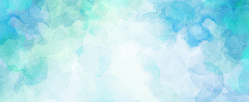 Blue green watercolor background with white cloudy center and abstract watercolor sky border design texture