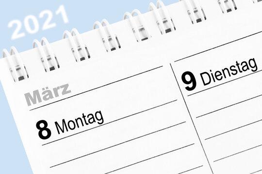 Kalender 8. März 2021 Montag