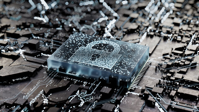 Security Technology Concept with lock symbol on a Microchip. Data flows from the CPU across a Futuristic Motherboard. 3D render.