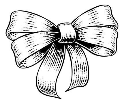 A bow gift ribbon vintage woodcut engraving style