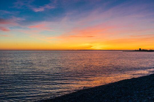 Sunset over the Black Sea in Sochi, in Adler