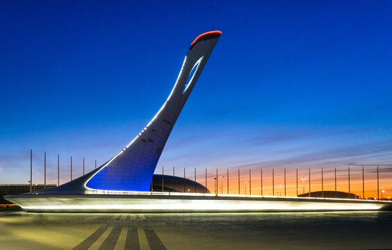 Russia, Sochi - March 04, 2019. Bowl of Olympic flame and light and music fountain
