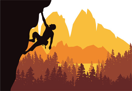 Man climbing rock overhang. Mountains and forest in the background. Silhouette of climber with brown, orange and yellow background. Illustration.