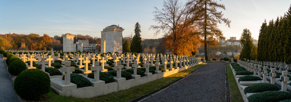 Sunset on historical Cemetery of the Defenders of L'viv city in Ukraine