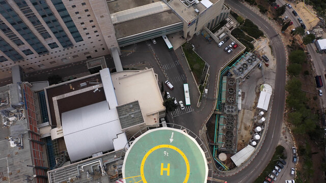 Hadassah ein kerem Hospital in Jerusalem mountains, aerial view Medicine buildings hospital and traffic, Jerusalem, israel
