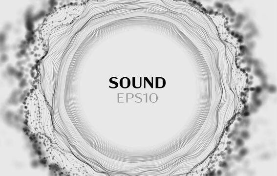 Sound wave vector background. white hud audio. Sound wave audio technology