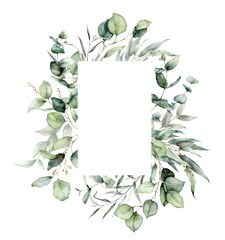 Obraz Watercolor vertical frame of eucalyptus branches, seeds and leaves. Hand painted card of silver dollar plants isolated on white background. Floral illustration for design, print, fabric or background. - fototapety do salonu