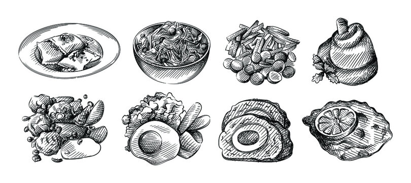 Hand drawn sketch set of German cuisine. German Maultaschen Dumplings, North German Labskaus, rollmops, Schnitzel with lemon, Currywurst, meatloaf with egg, Himmel und Ad (Heaven and Earth)