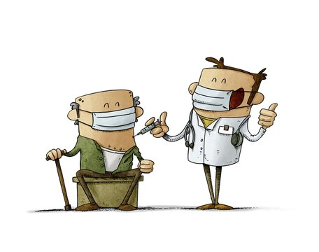happy doctor is giving a vaccine to an old man who is sitting. Covid-19 vaccination campaign concept. isolated