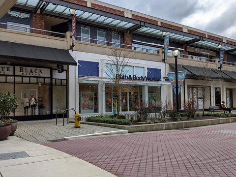Redmond, WA USA - circa March 2021: Street view of an outdoor Bath and Body Works store.