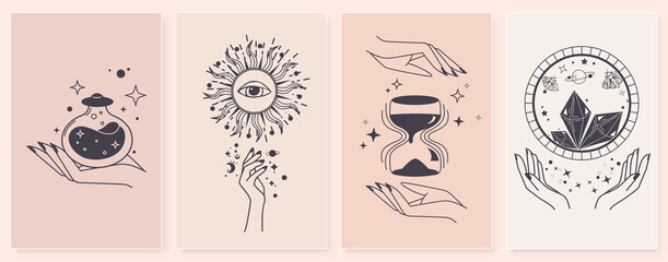 Obraz Set of alchemy esoteric mystical magic with woman hands. Esoteric linear prints with astrological symbols, crystals, sun, hourglass, potion, evil eye, occult hand. For tattoo boho, witchcraft esoteric - fototapety do salonu