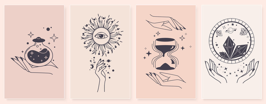 Set of alchemy esoteric mystical magic with woman hands. Esoteric linear prints with astrological symbols, crystals, sun, hourglass, potion, evil eye, occult hand. For tattoo boho, witchcraft esoteric