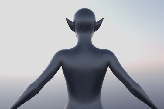 3D rendering of the back of a deformed elf-like mannequin with no textures on plain background