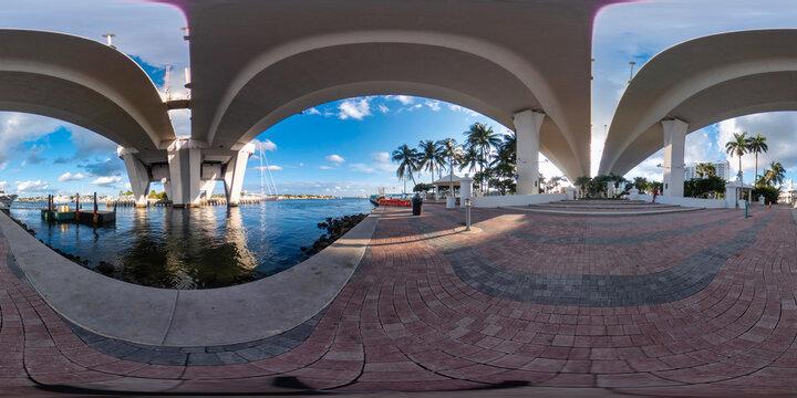360 spherical photo under the 17th Street Bridge in Fort Lauderdale FL USA