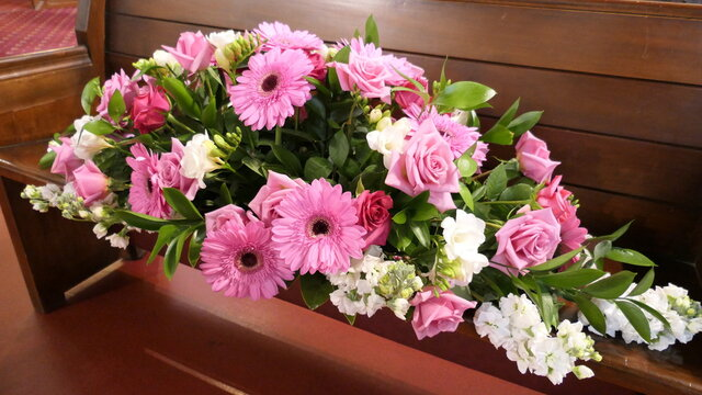 Shot of flowers arrangement used for a funeral service