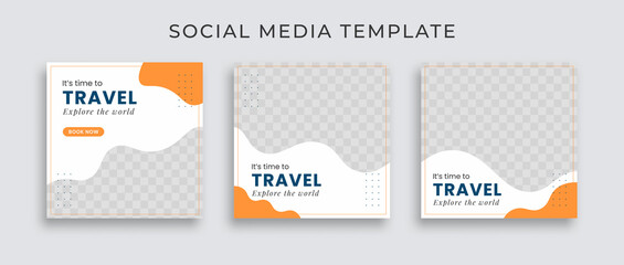 Fototapeta Editable template post for social media ad. web banner ads for travel promotion .design with white, blue and yellow color.