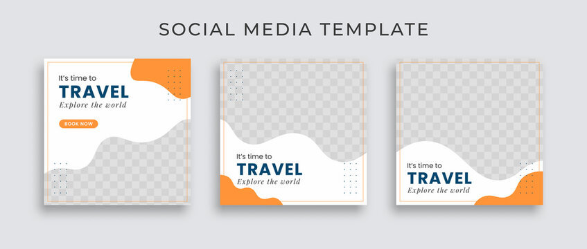 Editable template post for social media ad. web banner ads for travel promotion .design with white, blue and yellow color.