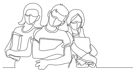 Wall Mural - three standing school kids with books wearing face masks - continuous line drawing